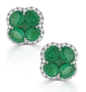 Emerald 2.41ct And Diamond 18K White Gold Alegria Earrings