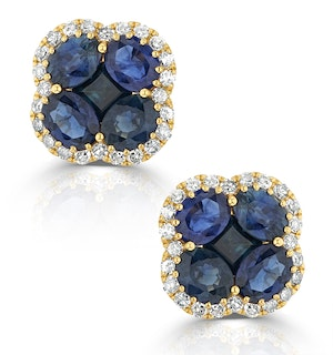 Sapphire 2.29ct And Diamond 18K Yellow Gold Alegria Earrings