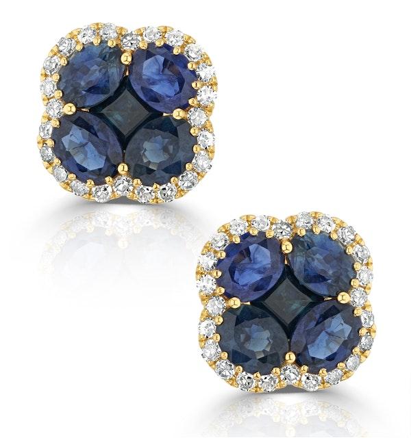 Sapphire 2.29ct And Diamond 18K Yellow Gold Alegria Earrings - image 1