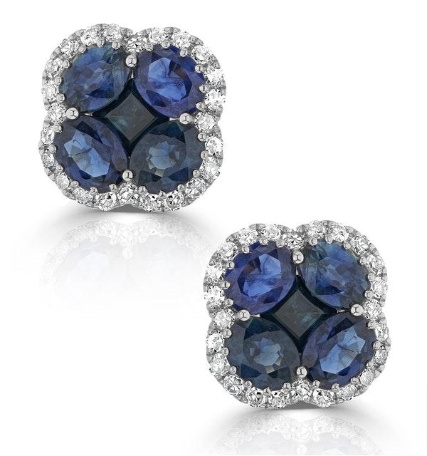 Sapphire 2.29ct And Diamond 18K White Gold Alegria Earrings - image 1