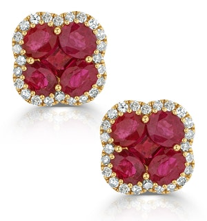 Ruby 2.39ct And Diamond 18K Yellow Gold Alegria Earrings