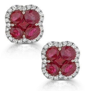 Ruby 2.39ct And Diamond 18K White Gold Alegria Earrings