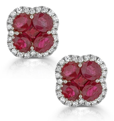 Ruby 2.39ct And Diamond 18K White Gold Alegria Earrings - image 1