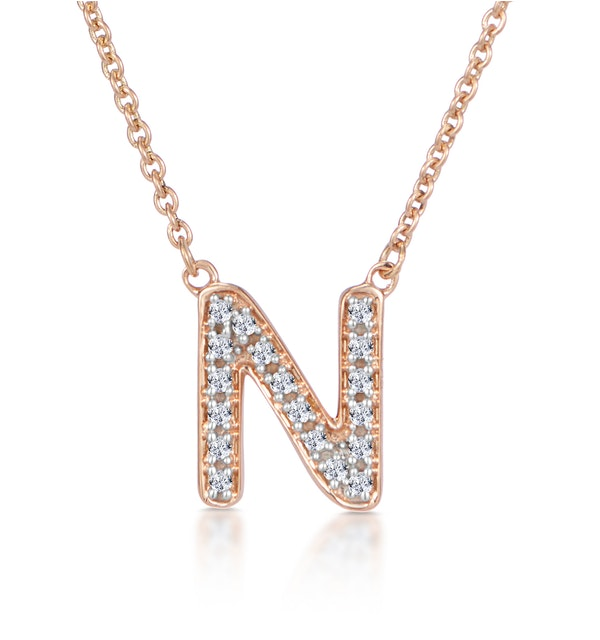 Initial 'N' Necklace Diamond Encrusted Pave Set in 9K Rose Gold - image 1