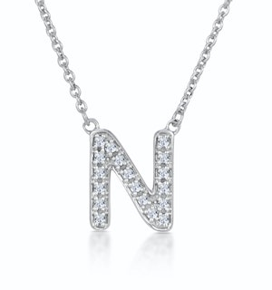 Initial 'N' Necklace Diamond Encrusted Pave Set in 9K White Gold