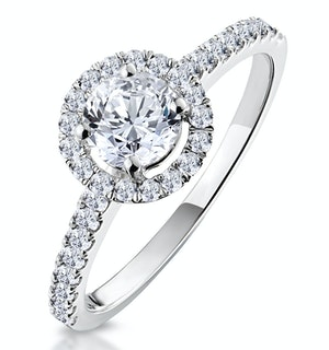 Ella Halo Lab Diamond Engagement Ring IGI 0.86ct F/VS1 18K White Gold