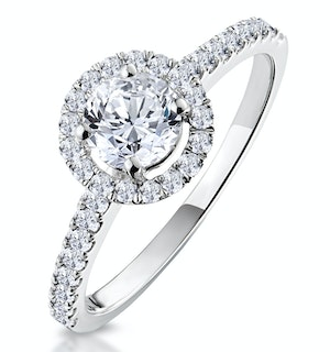 Ella Halo Lab Diamond Engagement Ring IGI 1.30ct G/VS1 18K White Gold
