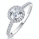 Ella Halo Lab Diamond Engagement Ring IGI 0.86ct H/SI1 18K White Gold - image 1