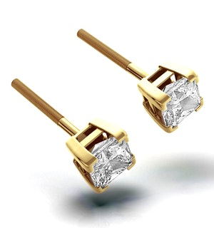 18K Gold Princess Diamond Earrings - 1CT - H/SI - 4.8mm