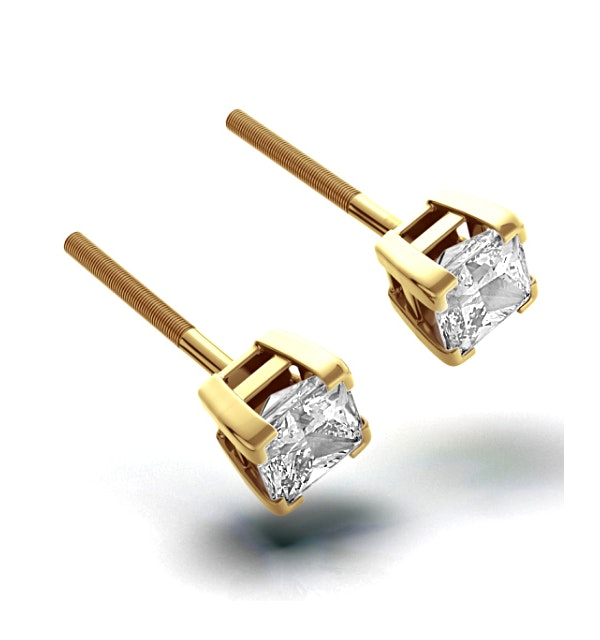 18K Gold Princess Diamond Earrings - 1CT - H/SI - 4.8mm - image 1