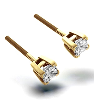 18K Gold Princess Diamond Earrings - 0.30CT - H/SI - 3mm