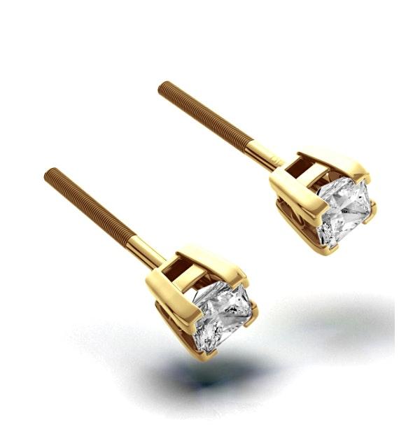 18K Gold Princess Diamond Earrings - 0.30CT - H/SI - 3mm - image 1