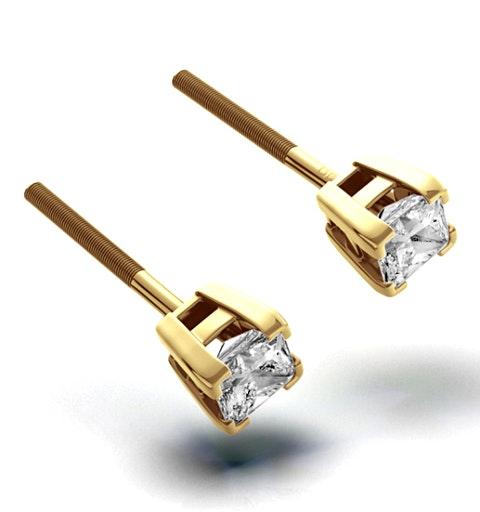 18K Gold Princess Diamond Earrings - 0.30CT - G/VS - 3mm - image 1