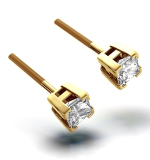 18K Gold Princess Diamond Earrings - 0.50CT - H/SI - 3.4mm