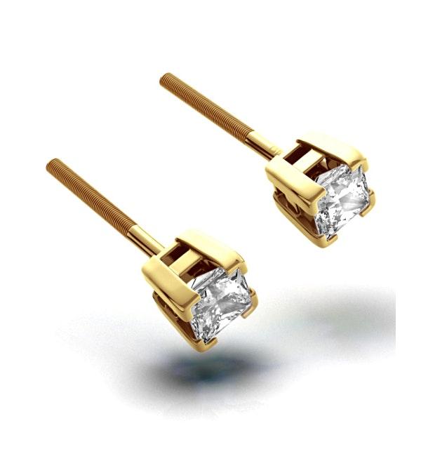 18K Gold Princess Diamond Earrings - 0.50CT - H/SI - 3.4mm - image 1