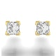 18K Gold Princess Diamond Earrings - 0.50CT - H/SI - 3.4mm - image 3