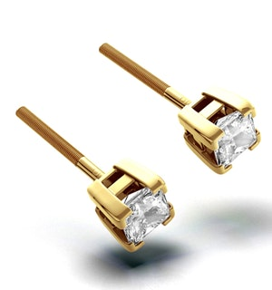 18K Gold Princess Diamond Earrings - 0.66CT - H/SI - 3.8mm