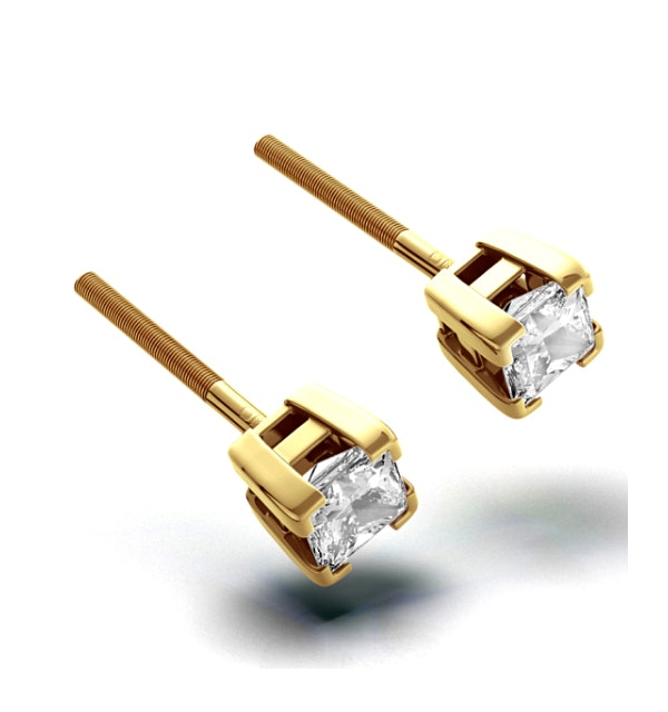 18K Gold Princess Diamond Earrings - 0.66CT - G/VS - 3.8mm - image 1