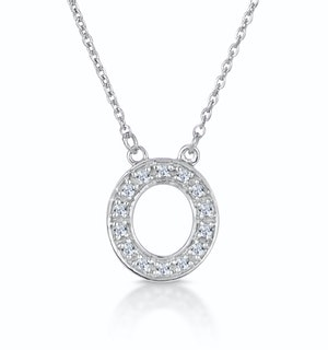 Initial 'O' Necklace Diamond Encrusted Pave Set in 9K White Gold