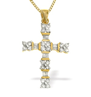 9K Gold Diamond Cross Pendant (0.75ct)