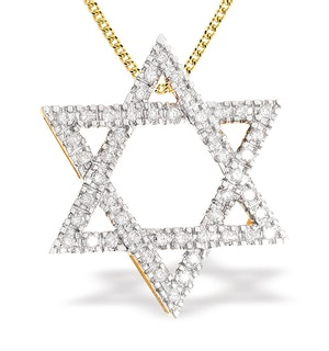 18K Gold Star of David Necklace (0.55ct)