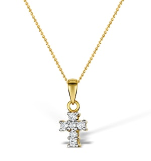 Diamond 0.10ct 18K Gold Cross Pendant - RTC-R3284