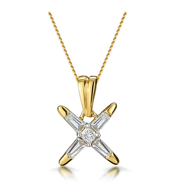 Baguette Diamond Star Design Necklace in 18K Gold - image 1