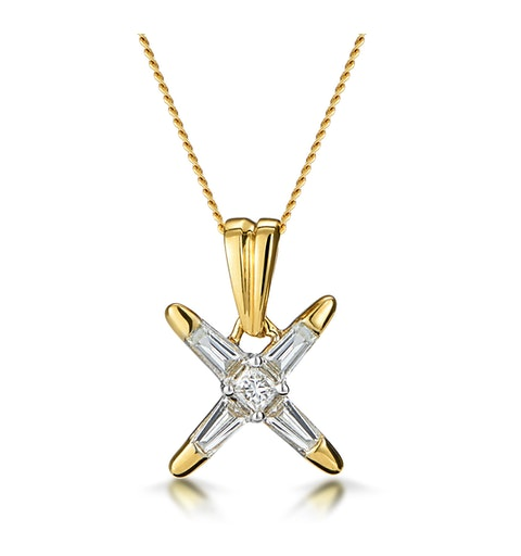 Baguette Diamond Star Design Necklace in 18K Gold - image 1