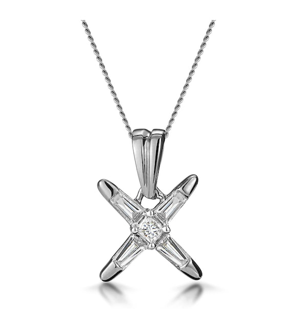 Baguette Diamond Star Design Necklace in 18K White Gold - image 1