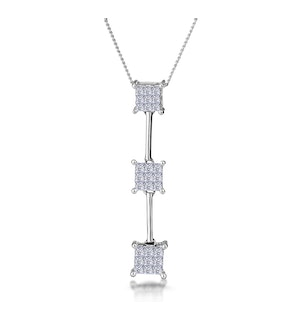 0.56ct Princess Line of Diamonds Necklace in 18K White Gold