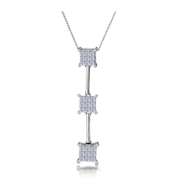 0.56ct Princess Line of Diamonds Necklace in 18K White Gold - image 1