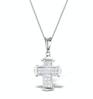 0.43ct Diamond Cross Necklace in 18K White Gold