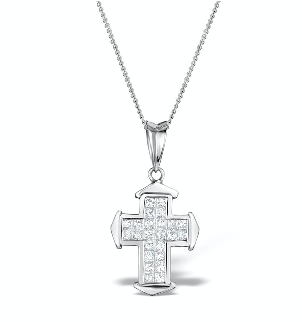 0.43ct Diamond Cross Necklace in 18K White Gold - image 1