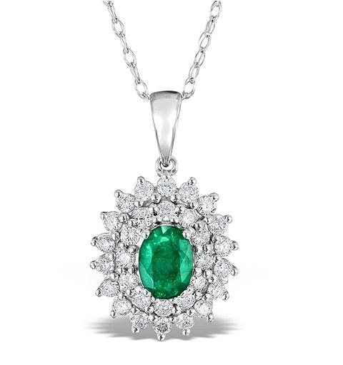 Emerald 0.75CT And Diamond 9K White Gold Pendant - image 1