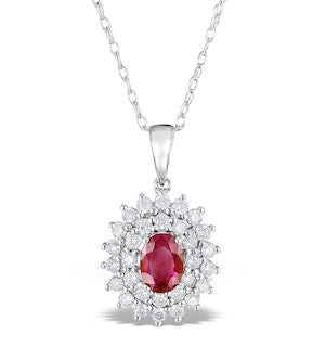 Ruby 7 x 5mm And Diamond 9K White Gold Pendant Necklace