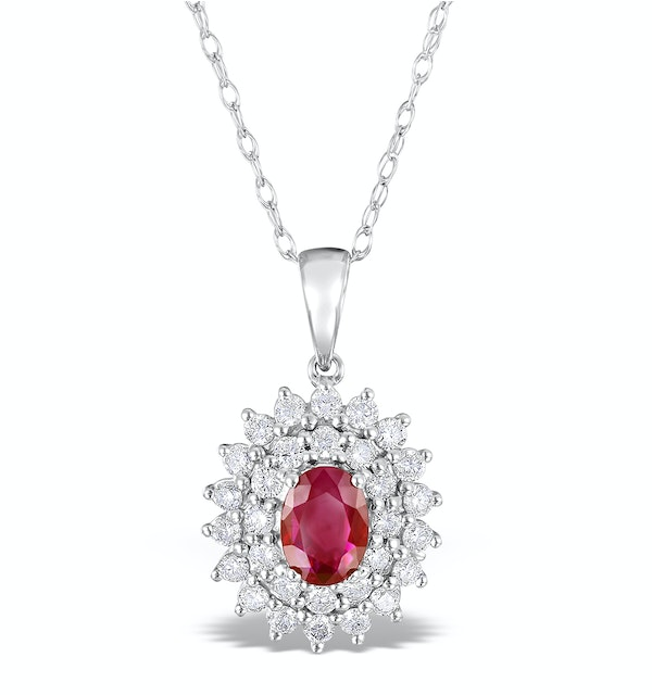 Ruby 7 x 5mm And Diamond 9K White Gold Pendant Necklace - image 1