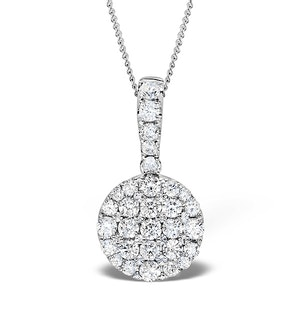 18K White Gold Cluster Diamond Circles Drop 0.75ct Pendant