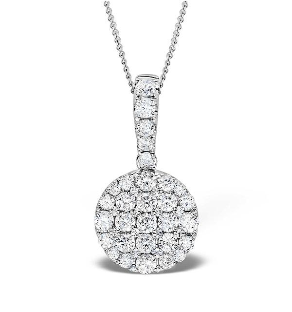 18K White Gold Cluster Diamond Circles Drop 0.75ct Pendant - image 1