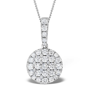 18K White Gold Cluster Diamond Circles Drop 1.00ct Pendant