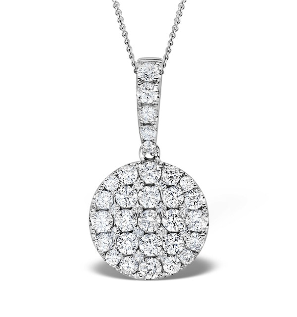 18K White Gold Cluster Diamond Circles Drop 1.00ct Pendant - image 1
