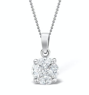 Galileo 1.00ct Look Diamond 0.41ct And Platinum Solitaire Necklace