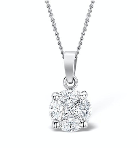 Galileo 1.00ct Look Diamond 0.41ct And Platinum Solitaire Necklace - image 1