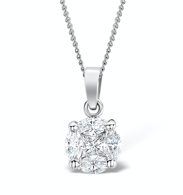 Galileo 1.00ct Look Diamond 0.41ct 18K White Gold Solitaire Necklace - image 1