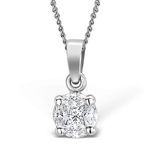Galileo 0.50ct Look Diamond 0.18ct And Platinum Solitaire Necklace