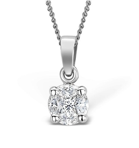 Galileo 0.50ct Look Diamond 0.18ct And Platinum Solitaire Necklace - image 1