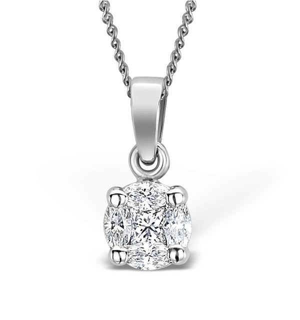 Galileo 0.50ct Look Diamond 0.18ct 18K White Gold Solitaire Necklace - image 1