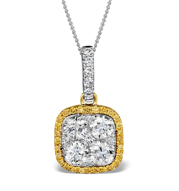 18K White Gold ANGELINA Diamond and Yellow Diamond HALO Pendant - image 1