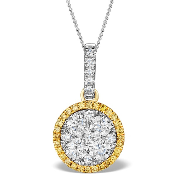 18K White Gold ALESSIA 1.20ct Diamond and Yellow Diamond HALO Pendant - image 1