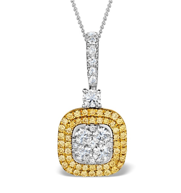18K White Gold LUCIA 0.82ct Diamond and Yellow Diamond HALO Pendant - image 1