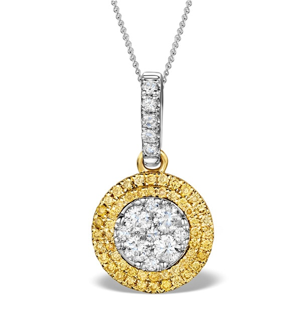 18K White Gold ARIANNA Diamond and Yellow Diamond HALO Pendant - image 1